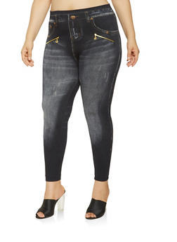 Plus Size Zipper Trim Denim Print Leggings - 3969062906110