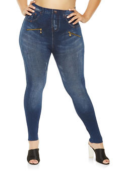 Plus Size Zipper Trim Denim Print Leggings - 3969062906110