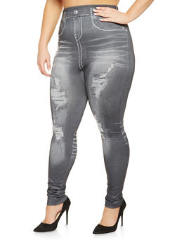 Plus Size Denim Print Leggings - 3969062906344