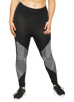 Plus Size Striped Detail Leggings - 3969062906380