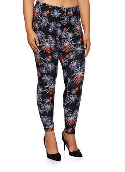 Plus Size Spider Web Print Leggings - 3969062906795