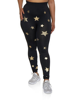 Plus Size Foil Star Print Leggings - 3969062907125