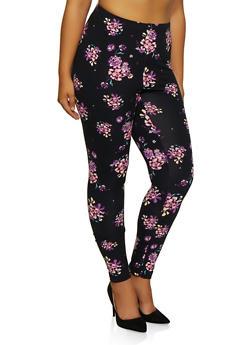 Plus Size Floral Leggings - 3969062908021