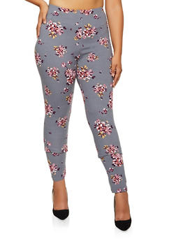 Plus Size Floral Leggings - 3969062908021