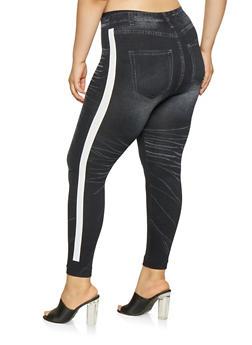 Plus Size Side Stripe Denim Knit Leggings - 3969062908022