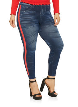 Plus Size Side Stripe Denim Knit Leggings - 3969062908022