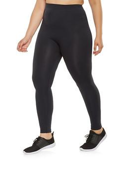 Plus Size Solid Active Leggings - 3969062908034