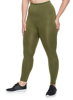 Plus Size Solid Active Leggings - 3969062908034