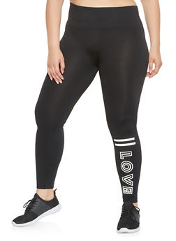 Plus Size Love Graphic Leggings - 3969062908070