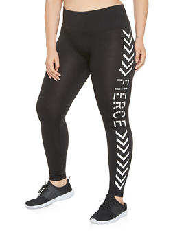 Plus Size Fierce Graphic Seamless Leggings - 3969062908071