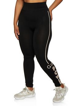 Plus Size Girl Power Active Leggings - 3969062908077