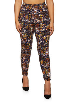 Plus Size Printed Soft Knit Leggings - 3969062908126