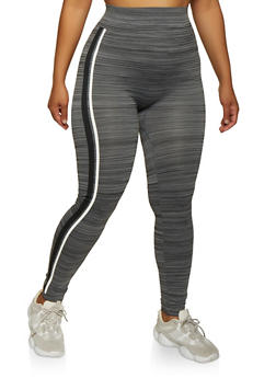 Plus Size Contrast Striped Side Leggings - 3969062908130