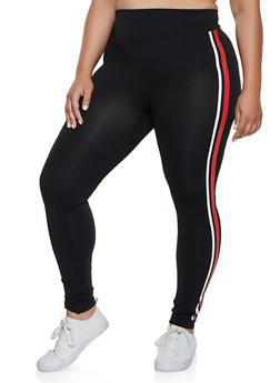 Plus Size Two Tone Stripe Detail Leggings - 3969062908132