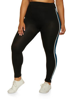 Plus Size Two Tone Stripe Detail Leggings - 3969062908132