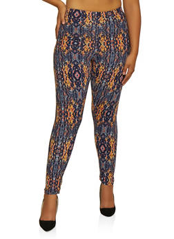 Plus Size Abstract Print Leggings - 3969062908135