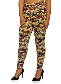 Plus Size Abstract Camo Leggings - 3969062908137