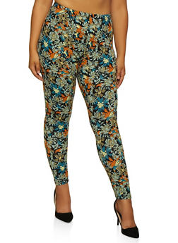 Plus Size Floral Leggings | 3969062908176 - 3969062908176