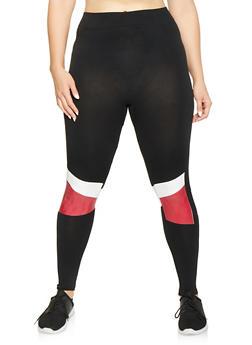Plus Size Color Block Detail Seamless Leggings - 3969062908180