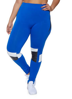 Plus Size Color Block Detail Leggings - 3969062908183