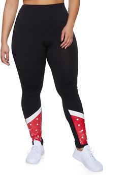 Plus Size Star Print Detail Leggings - 3969062908184