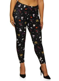 Plus Size Halloween Dog Print Leggings - 3969062908548