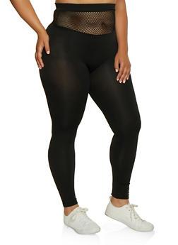 Plus Size Fishnet Waist Leggings - 3969062909001