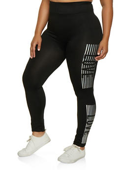 Plus Size Love Detail Leggings - 3969062909006