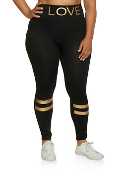 Plus Size Foil Love Varsity Stripe Detail Leggings - 3969062909016