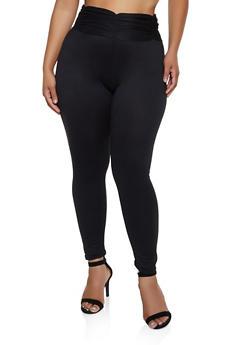Plus Size Ruched Waist Leggings - 3969062909018