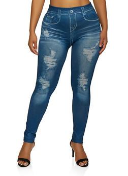 Plus Size Denim Print Fleece Lined Leggings - 3969062909055