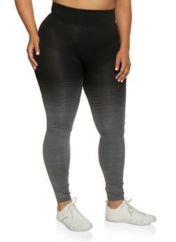 Plus Size Ombre Striped Leggings - 3969062909061