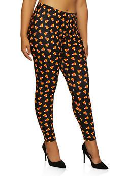 Plus Size Candy Corn Print Leggings - 3969062909064