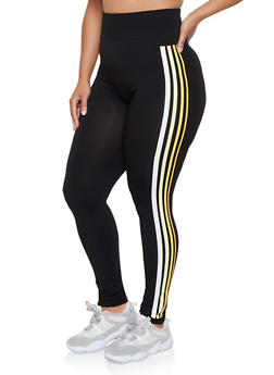 Plus Size Multi Stripe Leggings - 3969062909075