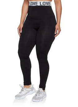 Plus Size Love Graphic Waistband Leggings - 3969062909077