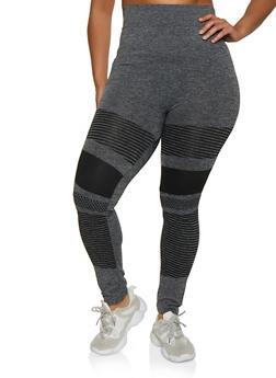 Plus Size Variegated Stripe Detail Leggings - 3969062909090