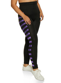 Plus Size Foil Striped Detail Leggings - 3969062909091