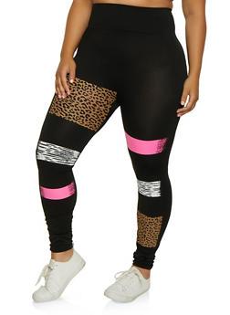 Plus Size Mix Print Leggings - 3969062909114