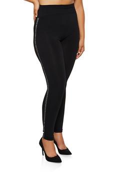 Plus Size Studded Shimmer Knit Leggings - 3969062909116