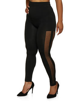 Plus Size Laser Cut Detail Leggings - 3969062909122