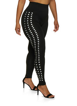 Plus Size Dot Print Detail Leggings - 3969062909123