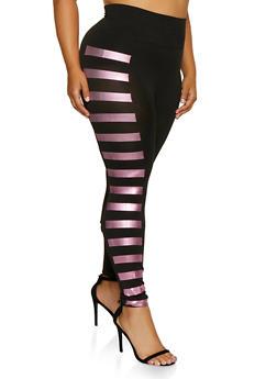Plus Size Foil Striped Detail Leggings | 3969062909689 - 3969062909689