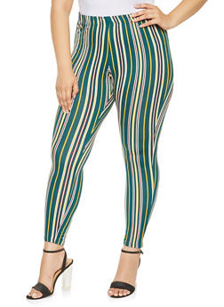 Plus Size Soft Knit Printed Leggings - HUNTER - 3969074015889