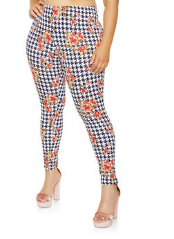 Plus Size Soft Knit Printed Leggings - NAVY - 3969074015889