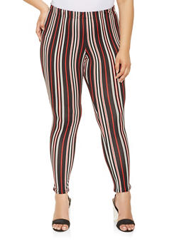 Plus Size Soft Knit Printed Leggings - RED - 3969074015889