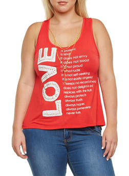 Plus Size Love Graphic Tank Top with Removable Necklace - 3984062706161
