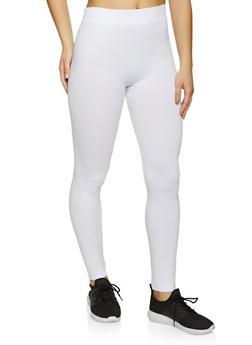 White Solid Leggings - 5069041453022
