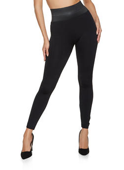 Fleece Lined Elastic Waist Leggings - 5069059162879