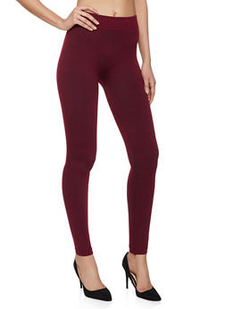 French Terry Lined Solid Leggings - 5069059163397
