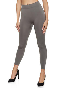 Ribbed Knit Trim Fleece Lined Leggings - 5069059168775
